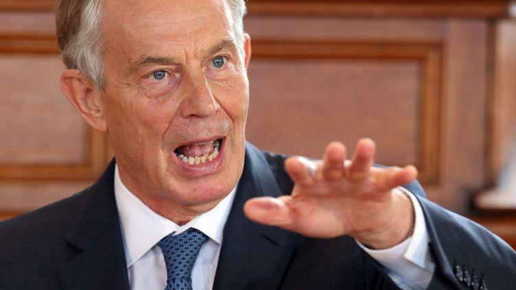 Tony Blair, ancien Premier ministre travailliste britannique, à Derry (Irlande du Nord, Royaume-Uni) le 9 juin 2016. (BRIAN LAWLESS / POOL / AFP)