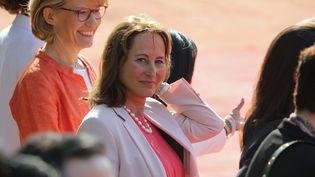 Ségolène Royal, ambassadrice des pôles, lors d'une cérémonie en présence d'Emmanuel Macron, à New Delhi, en Inde, le 10 mars 2018. (POOL / AFP)
