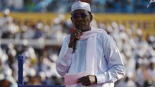 Le président tchadienIdriss Déby Itno, lors d'un meeting en vue de sa réélection, le 9 avril 2021 àN'djamena. (MARCO LONGARI / AFP)