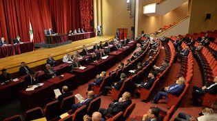 Les députés libanais au Parlement à Beyrouth (Liban) le 20 septembre 2021. (PARLEMENT LIBANAIS / AFP)