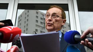 Didier Gailhaguet annonce qu'il démissionne de son poste de président de la Fédération française des sports de glace, le 8 février 2020 à Paris. (PHILIPPE LOPEZ / AFP)