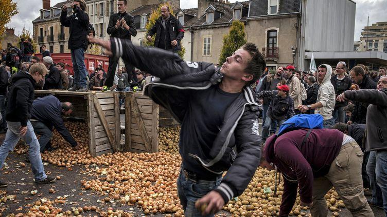 Un manifestant lance une pomme de terre lors d'un rassemblement d'agriculteurs, le 5 novembre 2014 à Dijon (Côte d'Or). (JEFF PACHOUD / AFP)