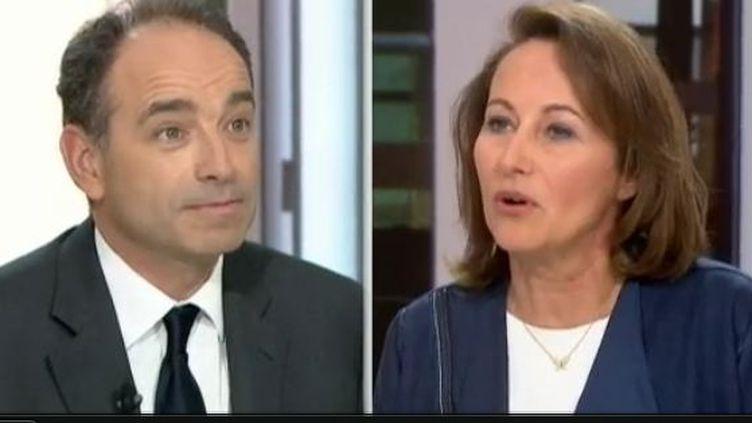 Ségolène Royal (PS) et Jean-François Copé (UMP) étaient sur le plateau du JT du 13h de France 2 lundi 23 avril 2012 (CAPTURE D'ÉCRAN FRANCE 2)