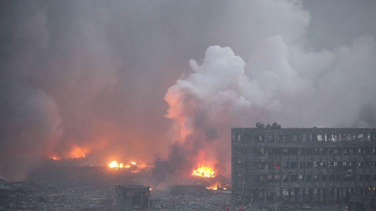 Le site industriel de Tianjin(Chine) après les explosions, jeudi 13 août 2015. (NURPHOTO / AFP)