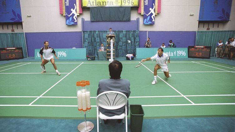 24 juillet 1996. Jeux Olympiques d'Atlanta.Match entre le danois Ron Michels et le britannique Darren Hall. (SIMON BRUTY / GETTY IMAGES NORTH AMERICA)