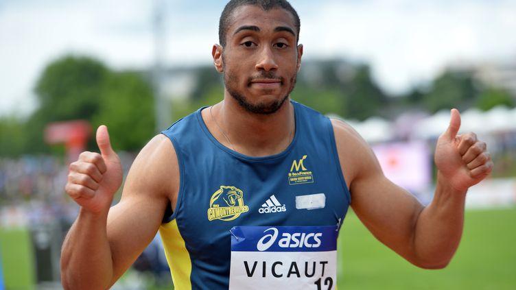 Jimmy Vicaut lors de sa victoire à Angers (JEAN-FRANCOIS MONIER / AFP)