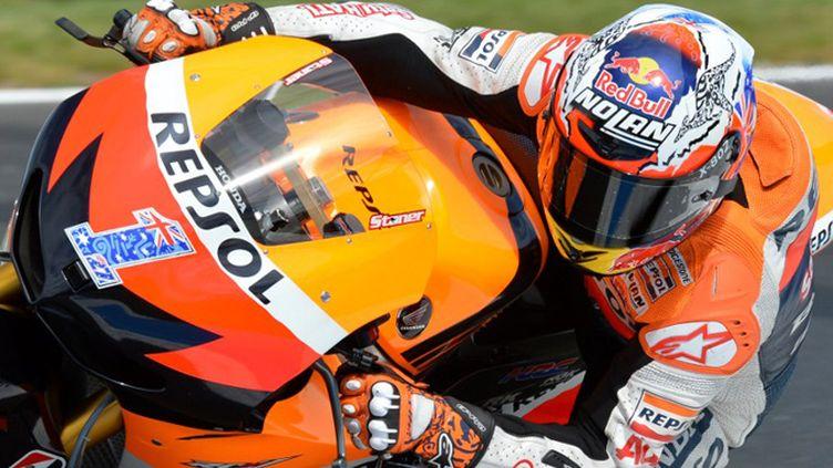Casey Stoner (Ducati) sur le circuit d'Aragon (PAUL CROCK / AFP)