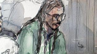 """Croquis de Farid Benyettou, """"l'émir"""" de la """"filière des Buttes-Chaumont"""", lors de son procès à Paris, le 20 mars 2008. (BENOIT PEYRUCQ / AFP)"""