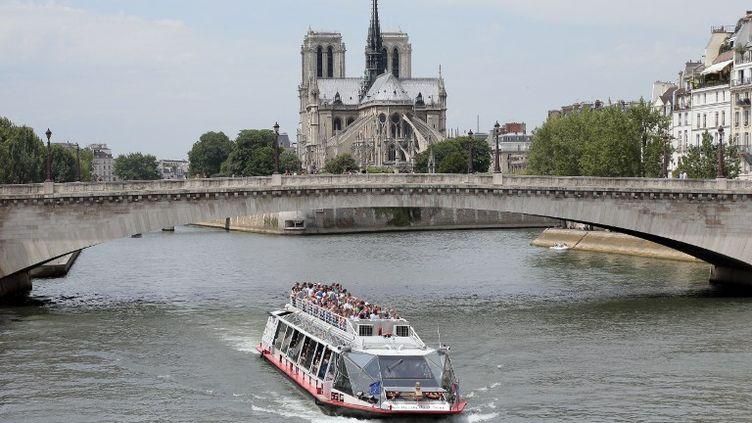 Des touristes effectuent unecroisière sur la Seine, à Paris, le 9 juin 2014. (JACQUES DEMARTHON / AFP)