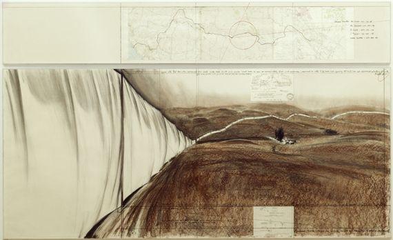 """Christo, """"Running Fence"""" (Project for Sonoma County and Marin County, State of California), 1976. Mine graphite, fusain et pastel sur papier, données techniques et carte topographique,38×244 cm et 106,6×244 cm. Centre Pompidou, Musée national d'art moderne. (PHILIPPE MIGEAT / CHRISTO, CENTRE POMPIDOU, MNAM-CCI, DIST. RMN )"""