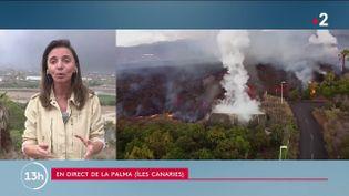 Aux Canaries en Espagne, les coulées de lave du volcan de l'île de la Palma se rapprochent de la mer. Un phénomène qui inquiète les habitants et les spécialistes. La journaliste Maryse Burgot est en direct de la Palma pour faire le point sur la situation. (FRANCE 2)