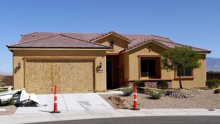 La résidence de Stephen Paddock, à Mesquite (Nevada, Etats-Unis), mise sous scellé, le 3 octobre 2017. (MARTIN BIALECKI / DPA / AFP)