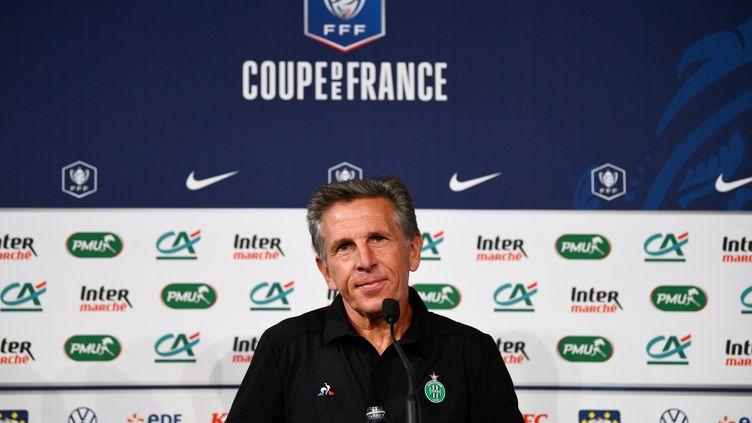 L'entraîneur de l'AS Saint-Étienne Claude Puel lors d'une conférence de presse au Stade de France, le 23 juillet 2020, veille de la finale de la Coupe de France. (FRANCK FIFE / AFP)