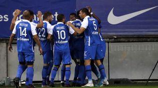 La joie des Grenoblois lors de l'ouverture du score contre le Paris FC. (PILLAUD STEPHANE / MAXPPP)
