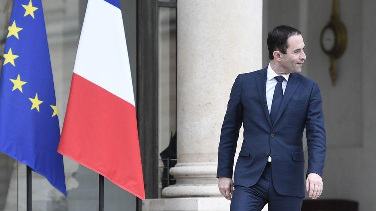 Le vainqueur de la primaire de la gauche, Benoît Hamon, quitte l'Elysée à Paris après avoir rencontré le président de la République, François Hollande, jeudi 2 février 2017. (STEPHANE DE SAKUTIN / AFP)