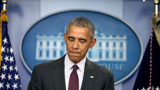 Le président américain, Barack Obama, intervient à la Maison-Blanche, à Washington,après une fusillade qui a fait 10 morts dans une université de l'Orégon (Nord-Ouest), jeudi 1er octobre 2015. (MARK WILSON / GETTY IMAGES NORTH AMERICA / AFP)