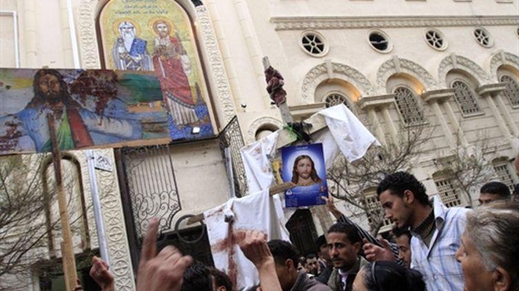 Le 1er janvier, manifestation copte devant l'église visée par un attentat la nuit du Nouvel An (AFP)