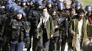 Des gendarmes évacuent les derniers opposants au projet de barrage de Sivens (Tarn), le 6 mars 2015. (PASCAL PAVANI / AFP)