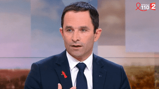 """Benoît Hamon, candidat socialiste à la présidentielle, était l'invité du """"20 heures"""" de France 2, dimanche 26 mars 2017 sur France 2. (FRANCE 2)"""
