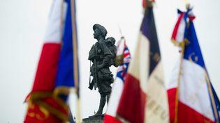 Une statue érigée en hommage aux combattants australiens morts durant la première guerre mondiale à Bullecourt (Pas-de-Calais), le 25 avril 2014. (MAXPPP)