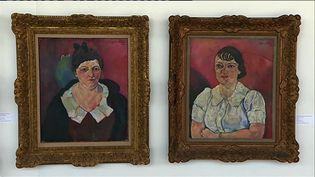 Deux des tableaux exposés à Bessines-sur-Gartempe (A Abalo France 3 Limousin)