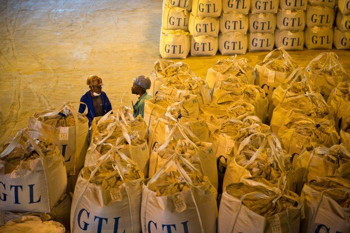 Deux ouvriers parlent à côté de sacs de cobalt dans une usine de retraitement de Lubumbashi. (PHIL MOORE / AFP)