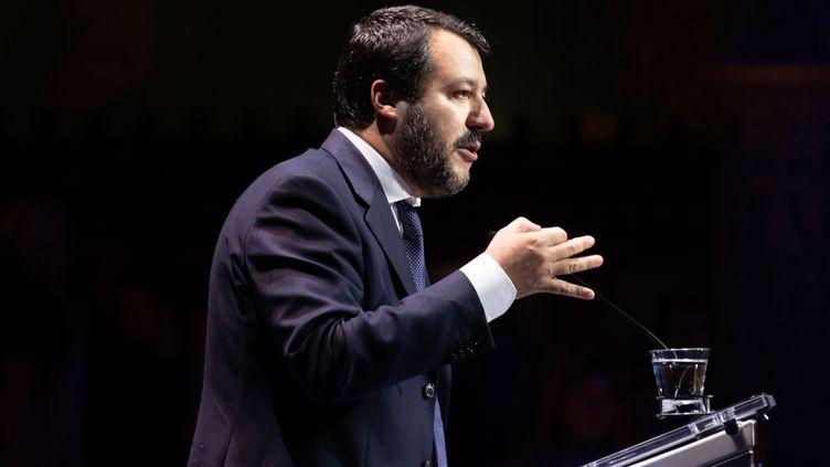 L'ancien ministre italien de l'Intérieur, Matteo Salvini, le 2 décembre 2019 à Anvers (Belgique). (DIEGO RAVIER / HANS LUCAS / AFP)