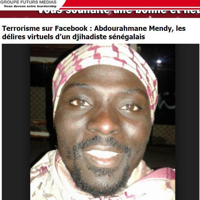 Abdourahmane Mendy a été parmi les premiers Sénégalais convertis au djihadisme. Il serait basé en Libye. (Capture d'écran du site sénégalais Futurs Médias)