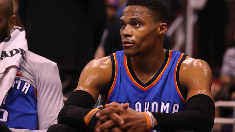 Le joueur d'OKC Russell Westbrook (CHRISTIAN PETERSEN / GETTY IMAGES NORTH AMERICA)