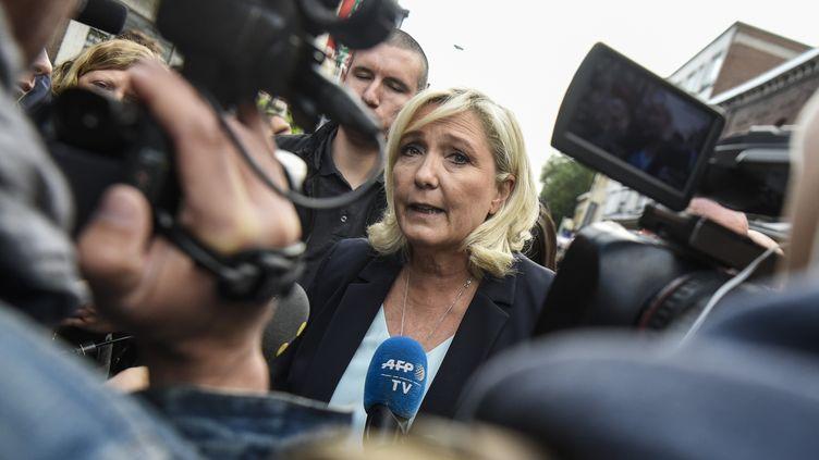 La présidente du RN, Marine Le Pen, à Hénin-Beaumont (Pas-de-Calais), le 8 septembre 2019. (FRANCOIS LO PRESTI / AFP)