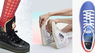 Sneakrs du créateur indien Manish Arora, collaboration Puma et Alexander Mc Queen, coolaboration Adidas Stan Smit & Pharrell Williams (de gauche à droite)  (DR)