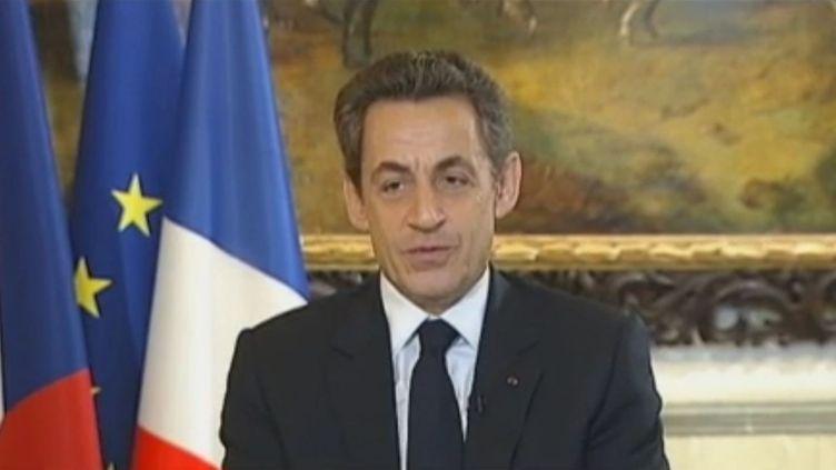 Nicolas Sarkozy à Prague (République Tchèque) le 23 décembre 2011. (FRANCE 2)