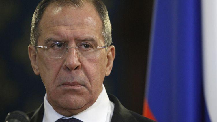 Le ministre russe des Affaires étrangères, Sergueï Lavrov, vendredi 28 décembre 2012 à Moscou lors de sa rencontre avec son homologue égyptien. (SERGEI KARPUKHIN / REUTERS)