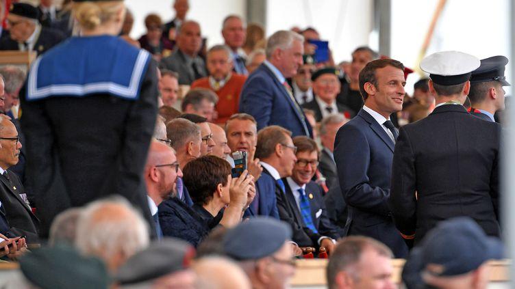 Le président de la République Emmanuel Macron, le 5 juin 2019, pour les cérémonies du 75e anniversaire du Débarquement àPortsmouth, au Royaume-Uni. (MANDEL NGAN / AFP)