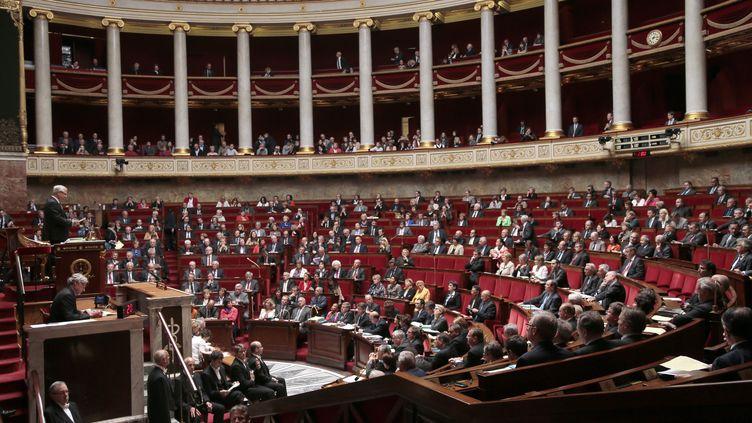 Les députés réunis dans l'hémicycle à l'occasion des questions au gouvernement, mardi 28 mai à l'Assemblée nationale, àParis. (JACQUES DEMARTHON / AFP)