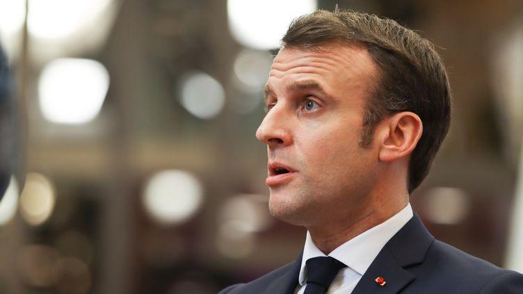 Le président de la République, Emmanuel Macron, lors d'une réunion de l'UE à Bruxelles (Belgique) le 21 février 2020. (NICOLAS ECONOMOU / NURPHOTO / AFP)