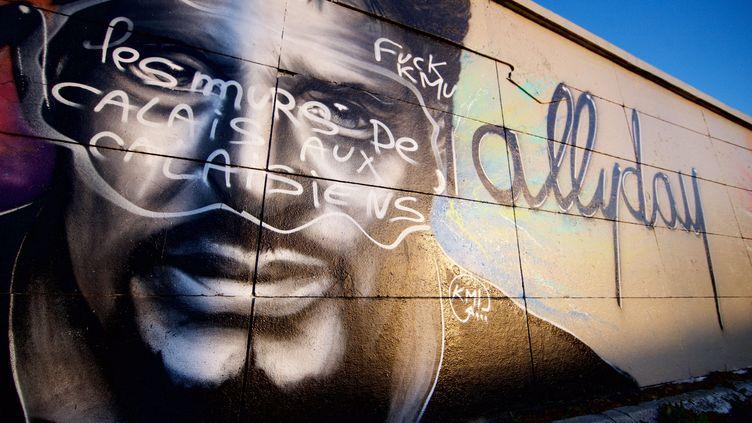 """A Calais (Pas-de-Calais), le spectaculaire graff de Johnny Hallyday par KMU aété vandalisé avec le message """"les murs de Calais aux Calaisiens"""". (MAXPPP)"""
