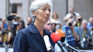 Christine Lagarde, directrice du Fonds monétaire international, s'exprime devant les médias avant une réunion de l'Eurogroupe à Bruxelles (Belgique) le 27 juin 2015. (DURSUN AYDEMIR / AFP)