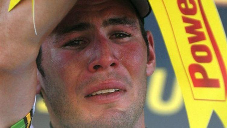 Mark Cavendish en larmes sur le podium du Tour
