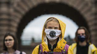 Greta Thunberg, figure du mouvement international des jeunes pour le climat, le 9 octobre 2020 àStockholm (Suède). (JONATHAN NACKSTRAND / AFP)