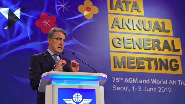 Alexandre de Juniac au meeting général annuel de Iata, le 2 juin 2019. (JUNG YEON-JE / AFP)