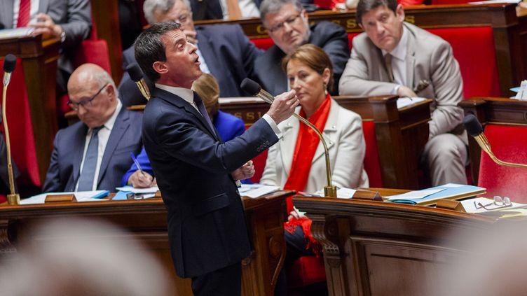 Le Premier ministre Manuel Valls, mercredi 5 mai 2015 à l'Assemblée nationale, à Paris. (AURÉLIEN MORISSARD / CITIZENSIDE.COM / AFP)