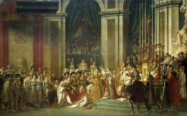 """Le """"Sacre de l'Empereur Napoléon 1er et Couronnement de l'Impératrice Joséphineà Notre-Dame le 2 décembre 1804"""", tableau deJacques Louis David, peint en 1806 et conservé au musée du Louvre. (PHOTO JOSSE / AFP)"""