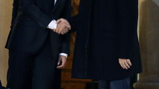Emmanuel Macron et Jean-Luc Mélenchonle 21novembre 2017. (LUDOVIC MARIN / AFP)
