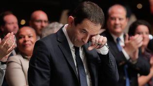 Benoît Hamon, lors de son meeting d'investiture à Paris, le 5 février 2017. (CHRISTIAN HARTMANN / REUTERS)