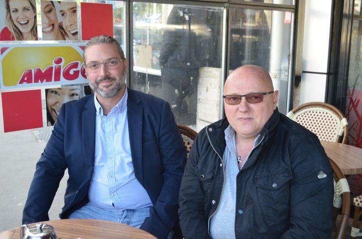 Alain Mondino et Didier Boulain, membres du Rassemblement national, à Tremblay-en-France le 28 mai 2019. (CAMILLE ADAOUST / FRANCEINFO)