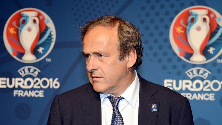 Michel Platini, président de l'UEFA, lors de la présentation du logo de l'Euro-2016 en France