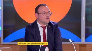 Le député Les Républicains de l'Ain et président du groupe LR à l'Assemblée nationale, Damien Abad, lundi 20 septembre sur la chaîne franceinfo. (FRANCEINFO)