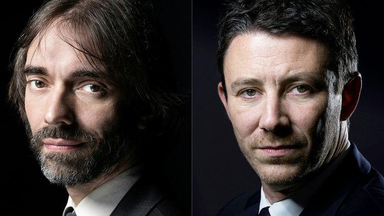 Cédric Villani et Benjamin Griveaux, candidats aux élections municipales à Paris. (JOEL SAGET / AFP)