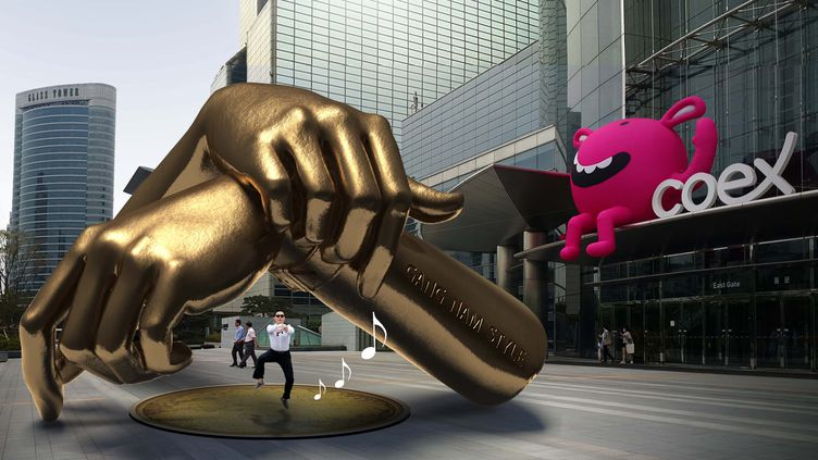 Représentation 3D de la statue qui devrait être inaugurée en décembre dans le quartier de Gangnam, à Séoul (Corée du Sud). (GANGNAM DISTRICT OFFICE / AFP)